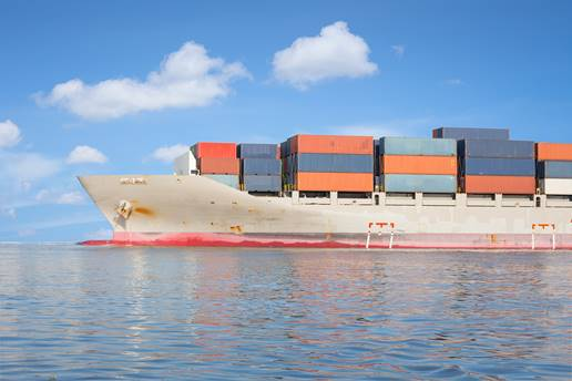 Shipping containers on cargo ship